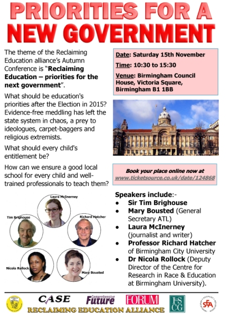 Flyer No2 - Reclaiming Education 15th November 2014
