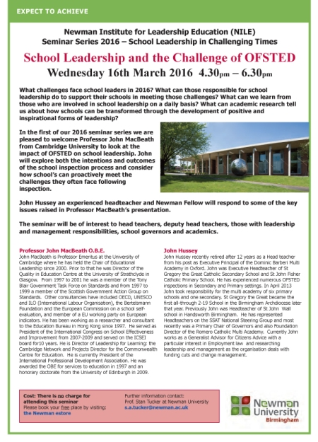 1603 16 MacBeath seminar at Newman