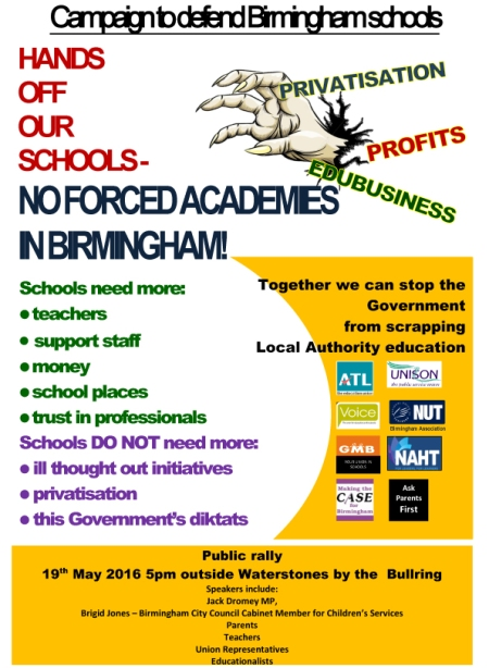 Hands off our schools 19th May rally flyer